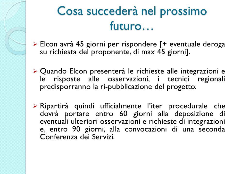 Cosa succederà nel prossimo futuro… Elcon avrà 45 giorni per rispondere [+ eventuale deroga su richiesta del proponente, di max 45 giorni].