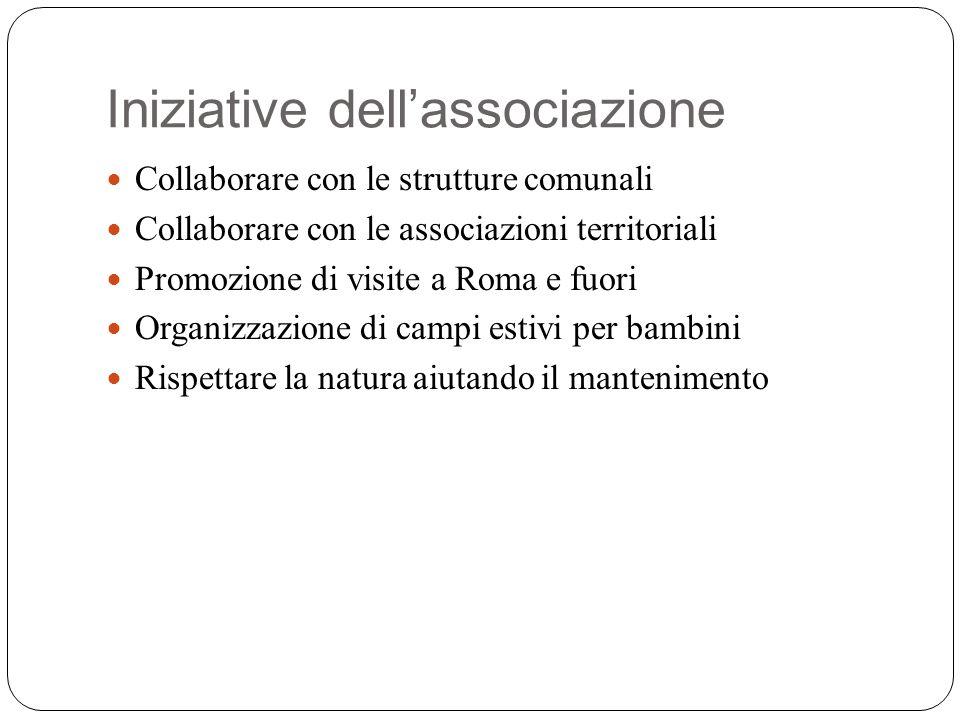 Iniziative dellassociazione Collaborare con le strutture comunali Collaborare con le associazioni territoriali Promozione di visite a Roma e fuori Organizzazione di campi estivi per bambini Rispettare la natura aiutando il mantenimento