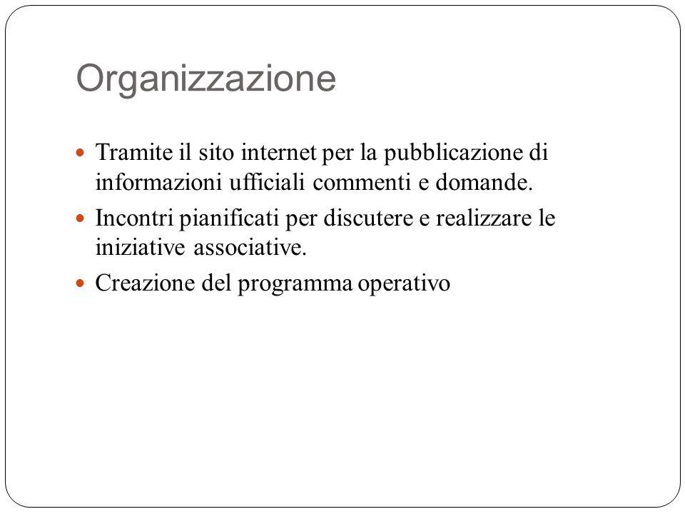 Organizzazione Tramite il sito internet per la pubblicazione di informazioni ufficiali commenti e domande.