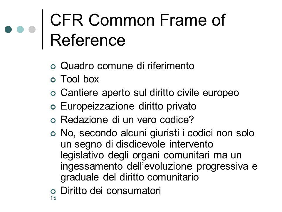 15 CFR Common Frame of Reference Quadro comune di riferimento Tool box Cantiere aperto sul diritto civile europeo Europeizzazione diritto privato Reda