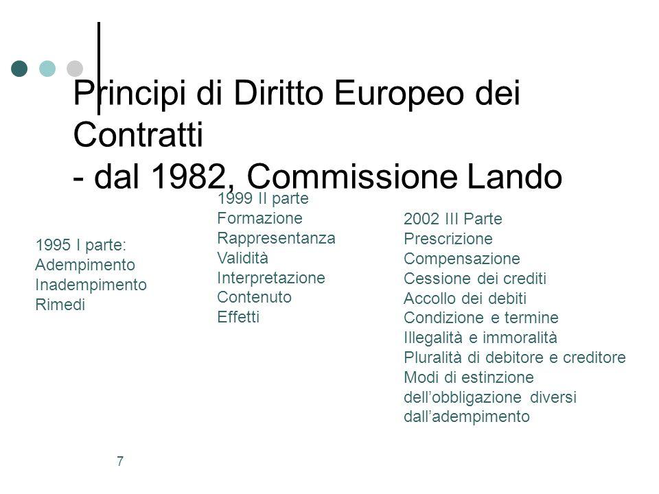 8 Codice Europeo dei Contratti Progetto Gandolfi Non creazione ex novo (tempi troppo lunghi) ma due modelli di riferimento: Codice italiano, IV libro.