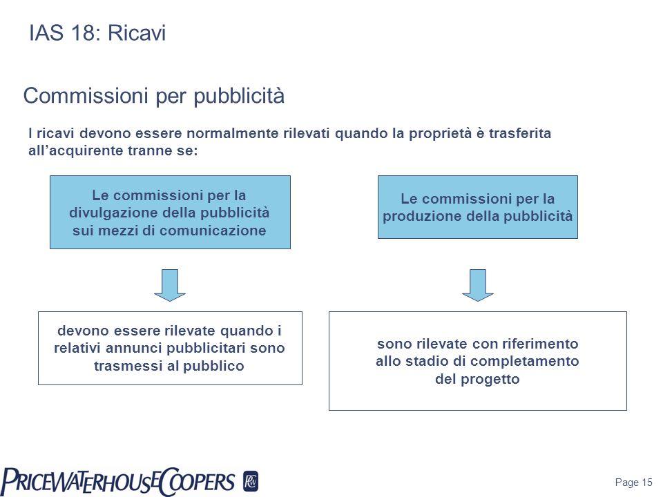 Page 15 IAS 18: Ricavi Le commissioni per la divulgazione della pubblicità sui mezzi di comunicazione devono essere rilevate quando i relativi annunci