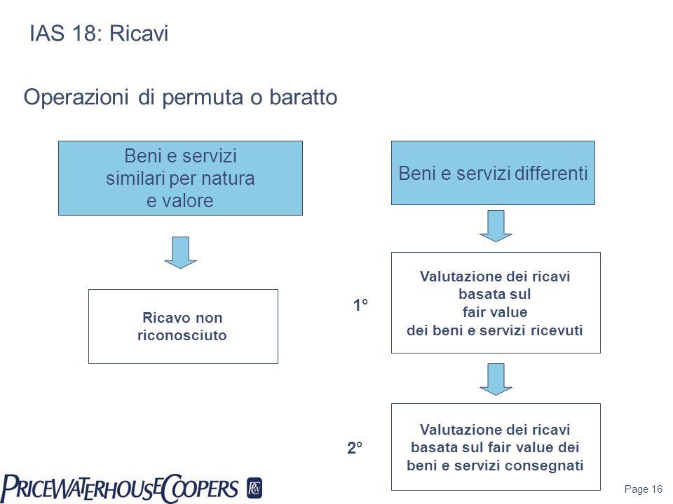 Page 16 IAS 18: Ricavi Beni e servizi similari per natura e valore Ricavo non riconosciuto Beni e servizi differenti Operazioni di permuta o baratto V