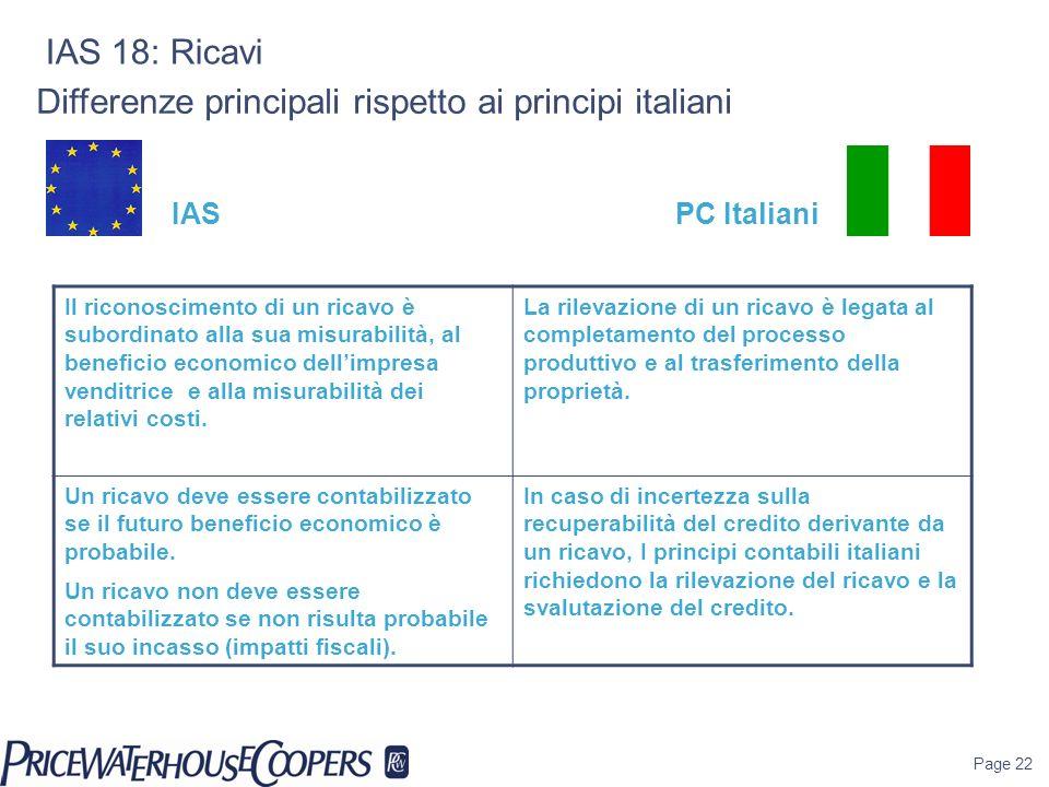 Page 22 IAS 18: Ricavi Differenze principali rispetto ai principi italiani Il riconoscimento di un ricavo è subordinato alla sua misurabilità, al bene