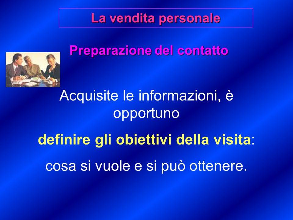 Preparazione del contatto Acquisite le informazioni, è opportuno definire gli obiettivi della visita: cosa si vuole e si può ottenere.