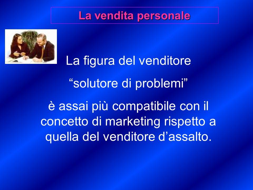 La figura del venditore solutore di problemi è assai più compatibile con il concetto di marketing rispetto a quella del venditore dassalto.
