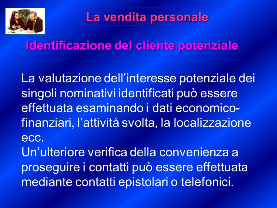 La valutazione dellinteresse potenziale dei singoli nominativi identificati può essere effettuata esaminando i dati economico- finanziari, lattività svolta, la localizzazione ecc.
