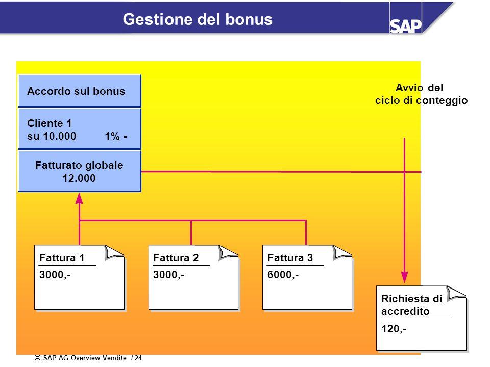 SAP AG Overview Vendite / 24 Gestione del bonus Richiesta di accredito 120,- Fattura 2 3000,- Fattura 3 6000,- Fattura 1 3000,- Avvio del ciclo di con