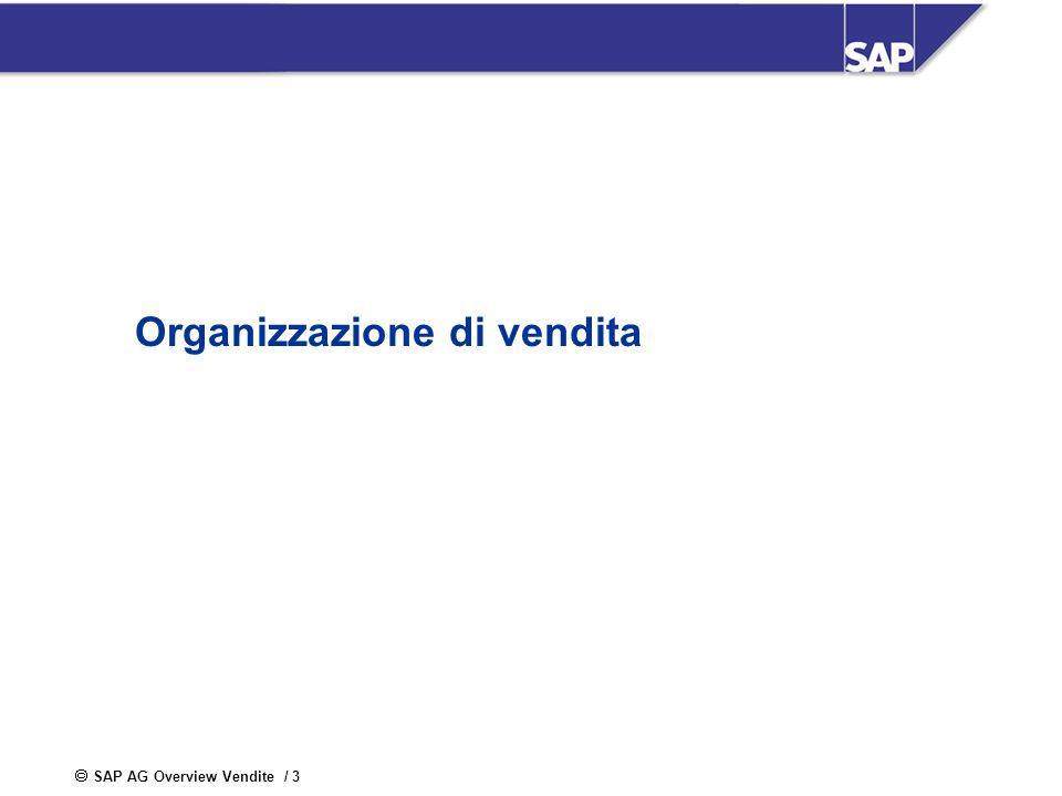 SAP AG Overview Vendite / 3 Organizzazione di vendita
