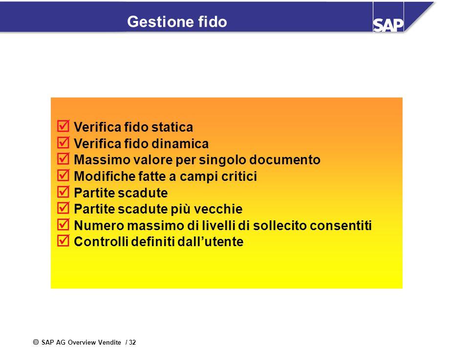 SAP AG Overview Vendite / 32 Gestione fido Verifica fido statica Verifica fido dinamica Massimo valore per singolo documento Modifiche fatte a campi c