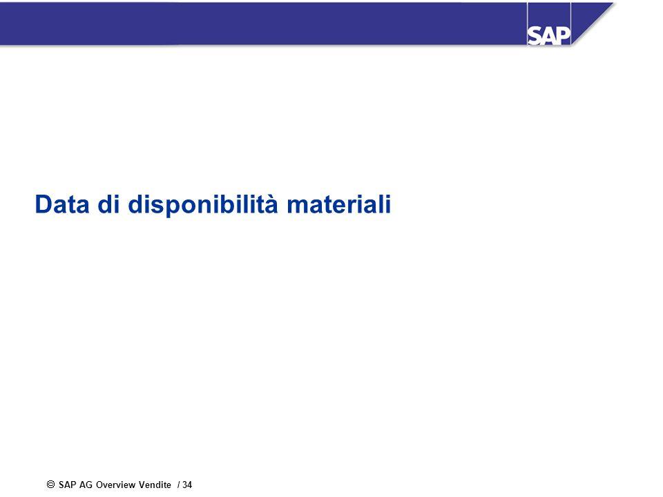 SAP AG Overview Vendite / 34 Data di disponibilità materiali