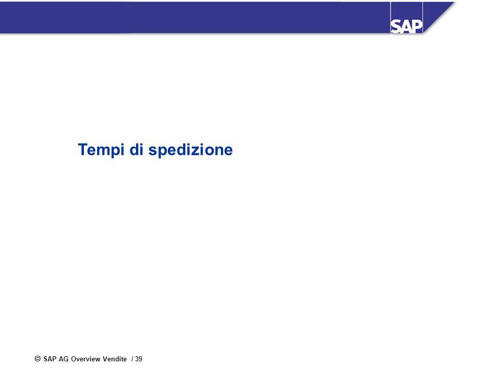 SAP AG Overview Vendite / 39 Tempi di spedizione