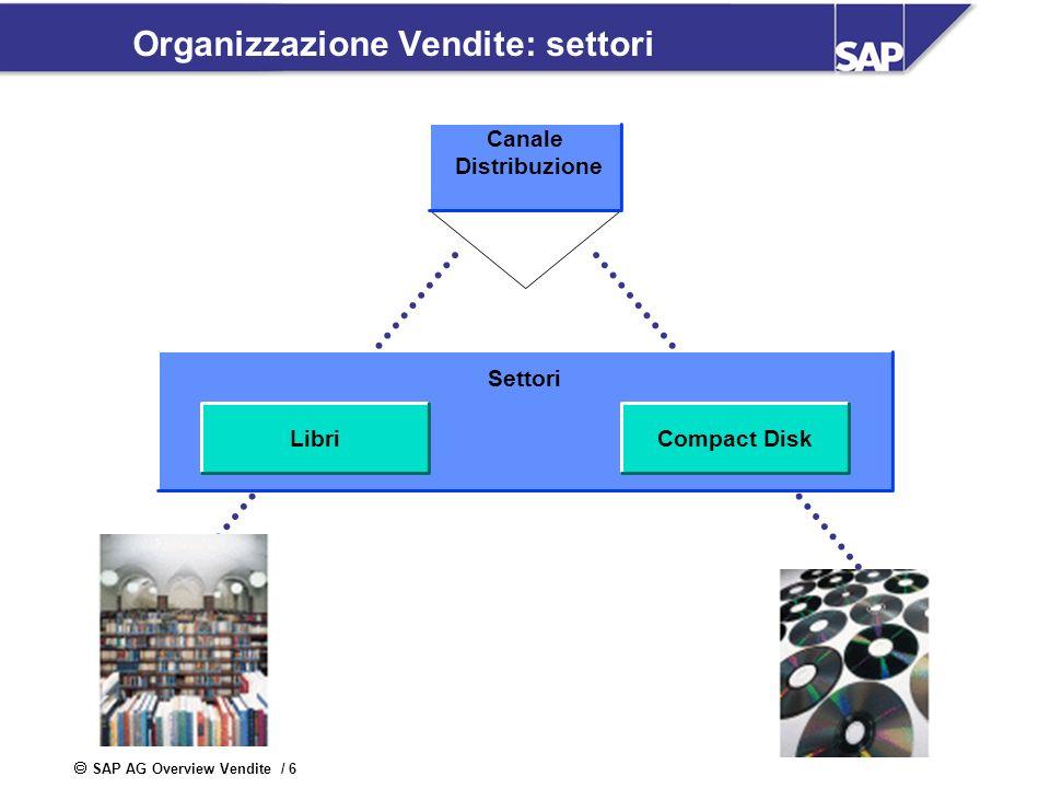SAP AG Overview Vendite / 6 Organizzazione Vendite: settori Canale Distribuzione Settori LibriCompact Disk