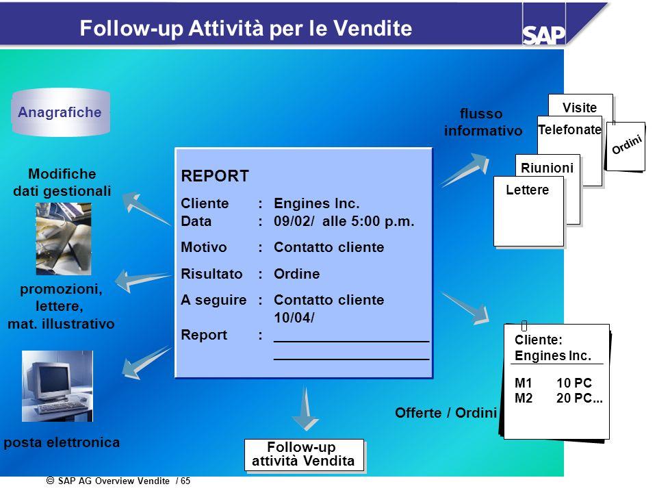 SAP AG Overview Vendite / 65 Follow-up Attività per le Vendite Visite Follow-up attività Vendita Follow-up attività Vendita Cliente: Engines Inc. M110