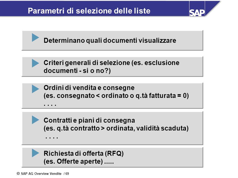 SAP AG Overview Vendite / 69 Parametri di selezione delle liste Determinano quali documenti visualizzare Criteri generali di selezione (es. esclusione