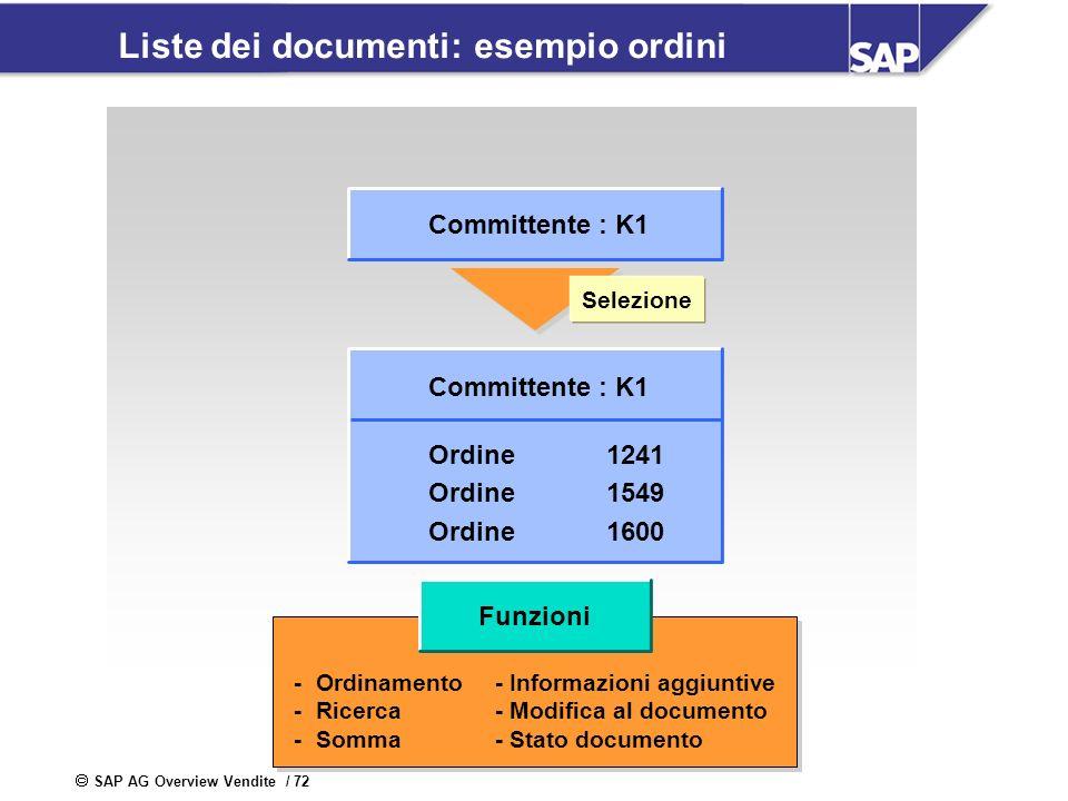 SAP AG Overview Vendite / 72 Liste dei documenti: esempio ordini Committente : K1 Ordine1241 Ordine1549 Ordine1600 Selezione -Ordinamento - Informazio