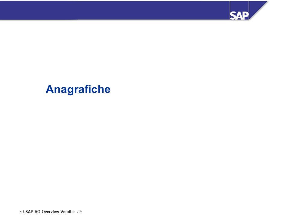 SAP AG Overview Vendite / 9 Anagrafiche