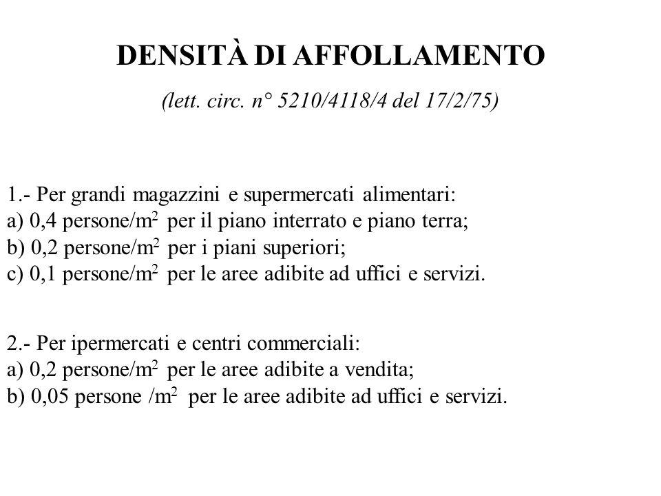 DENSITÀ DI AFFOLLAMENTO (lett. circ. n° 5210/4118/4 del 17/2/75) 1.- Per grandi magazzini e supermercati alimentari: a) 0,4 persone/m 2 per il piano