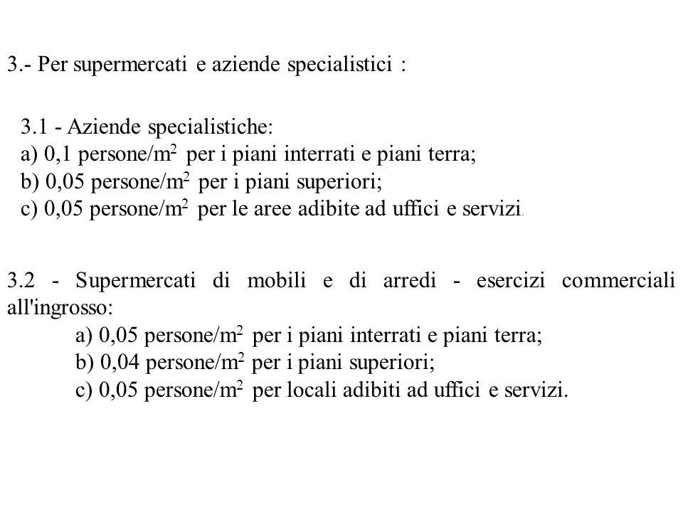 3.- Per supermercati e aziende specialistici : 3.1 - Aziende specialistiche: a) 0,1 persone/m 2 per i piani interrati e piani terra; b) 0,05 persone/m