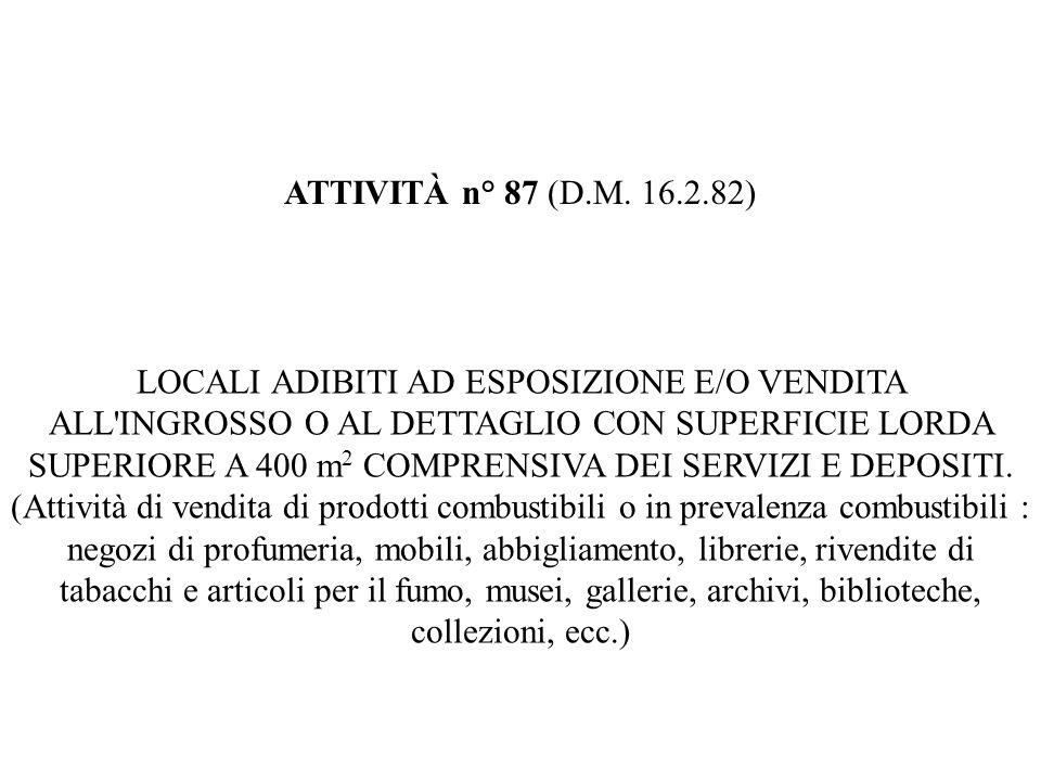ATTIVITÀ n° 87 (D.M. 16.2.82) LOCALI ADIBITI AD ESPOSIZIONE E/O VENDITA ALL'INGROSSO O AL DETTAGLIO CON SUPERFICIE LORDA SUPERIORE A 400 m 2 COMPRENS