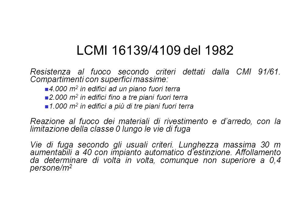 LCMI 16139/4109 del 1982 Resistenza al fuoco secondo criteri dettati dalla CMI 91/61. Compartimenti con superfici massime: 4.000 m 2 in edifici ad un