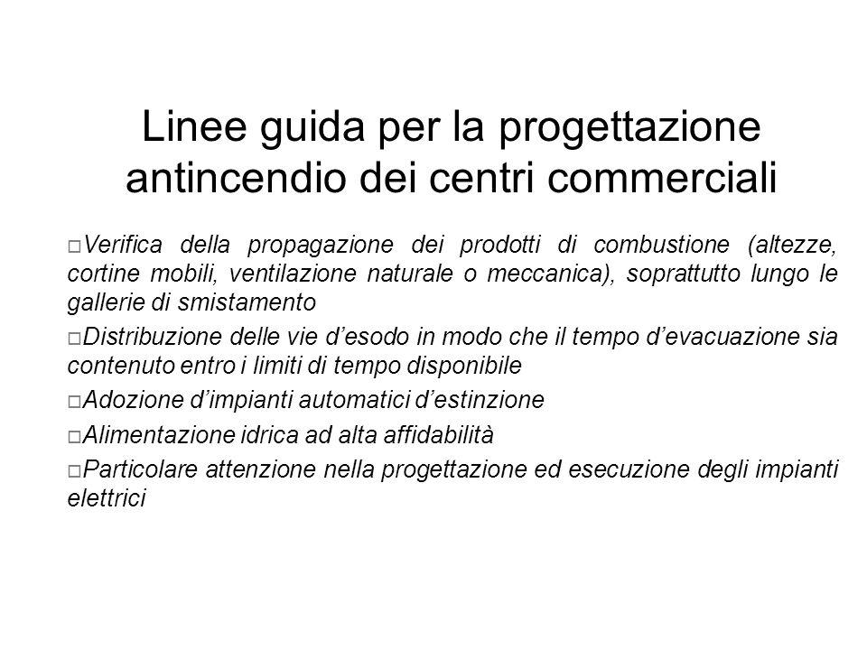 Linee guida per la progettazione antincendio dei centri commerciali Verifica della propagazione dei prodotti di combustione (altezze, cortine mobili,