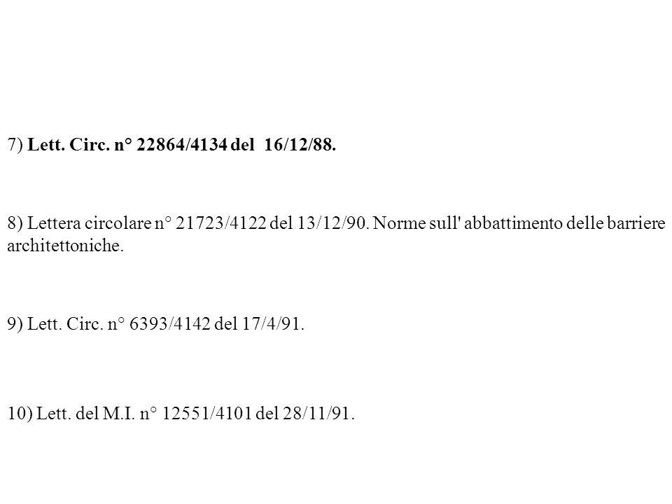 7) Lett. Circ. n° 22864/4134 del 16/12/88. 8) Lettera circolare n° 21723/4122 del 13/12/90. Norme sull' abbattimento delle barriere architettoniche. 9