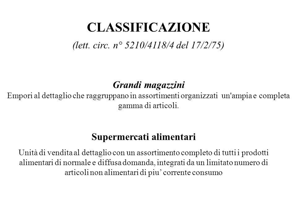 CLASSIFICAZIONE (lett. circ. n° 5210/4118/4 del 17/2/75) Grandi magazzini Empori al dettaglio che raggruppano in assortimenti organizzati un'ampia e c