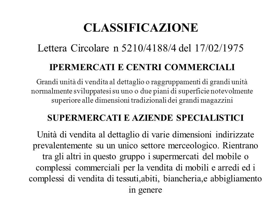 CLASSIFICAZIONE Lettera Circolare n 5210/4188/4 del 17/02/1975 GRANDI MAGAZZINI E SUPERMERCATI ALLINGROSSO Unità di vendita allingrosso che comprendono i prodotti di cui ai precedenti punti