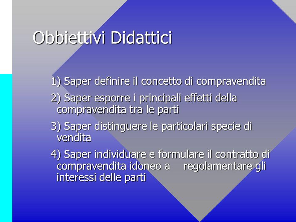 Obbiettivi Didattici 1) Saper definire il concetto di compravendita 1) Saper definire il concetto di compravendita 2) Saper esporre i principali effet