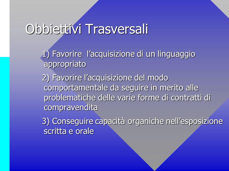Obbiettivi Trasversali 1) Favorire lacquisizione di un linguaggio appropriato 1) Favorire lacquisizione di un linguaggio appropriato 2) Favorire lacqu