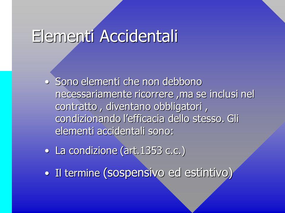 Elementi Accidentali Sono elementi che non debbono necessariamente ricorrere,ma se inclusi nel contratto, diventano obbligatori, condizionando leffica
