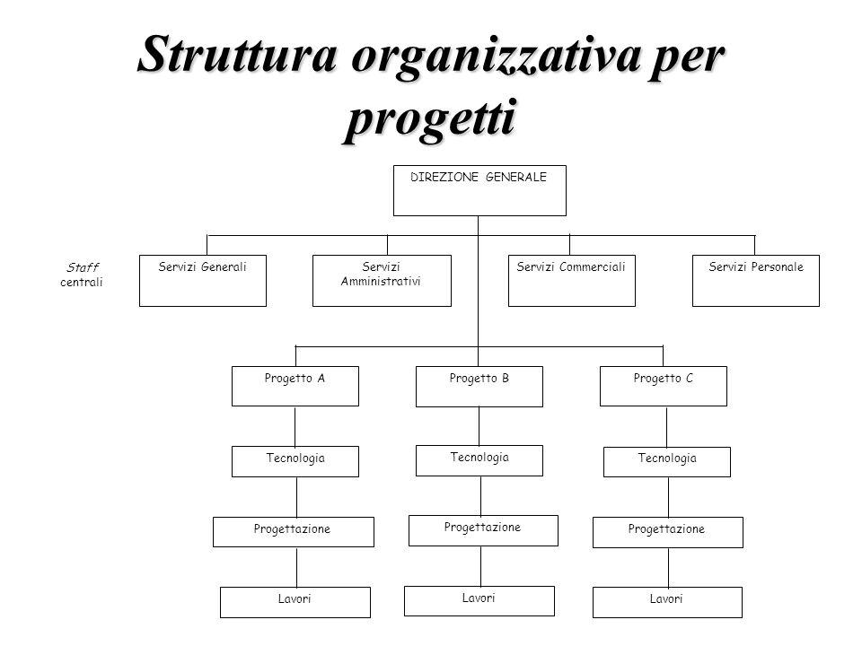 Struttura organizzativa per progetti DIREZIONE GENERALE Progetto B Progetto AProgetto C Servizi Amministrativi Servizi CommercialiServizi PersonaleSer