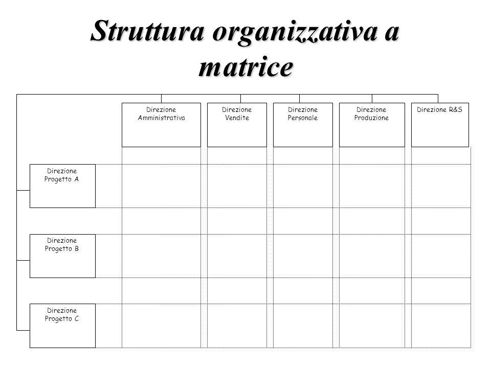 Struttura organizzativa a matrice Direzione Amministrativa Direzione Vendite Direzione Personale Direzione Produzione Direzione R&S Direzione Progetto
