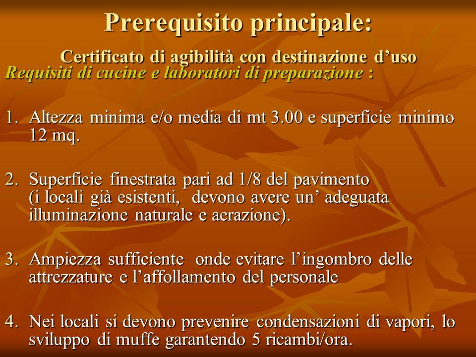 Prerequisito principale: Certificato di agibilità con destinazione duso Requisiti di cucine e laboratori di preparazione : 1.Altezza minima e/o media