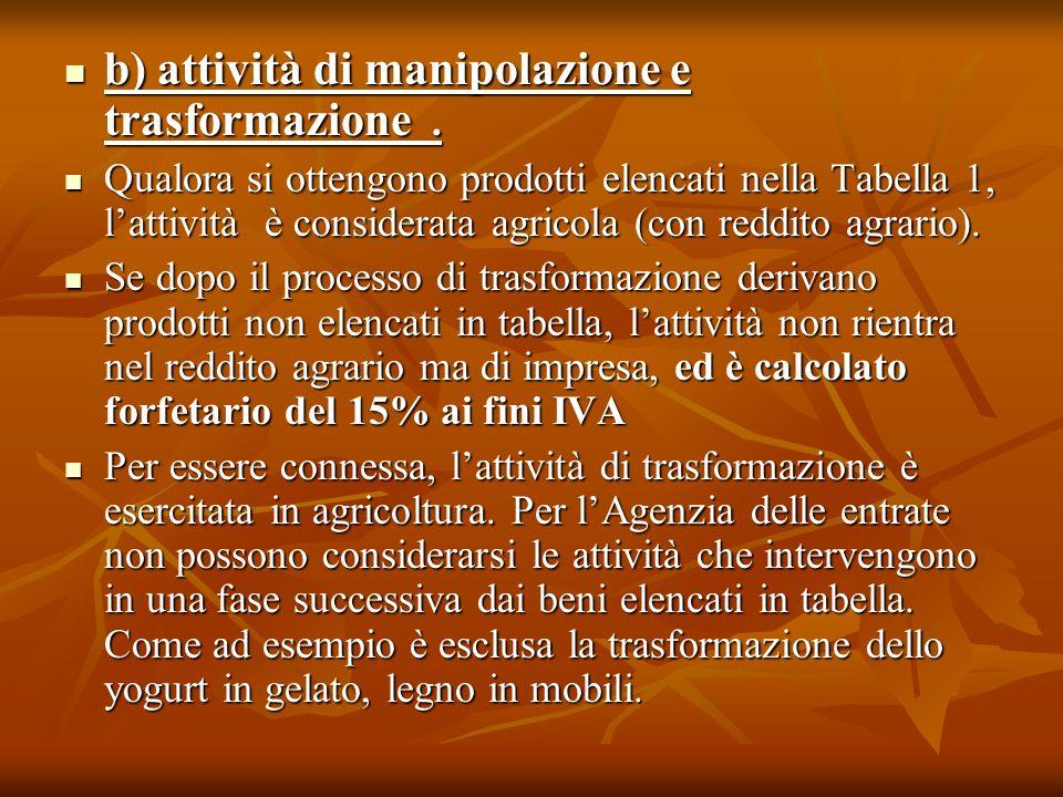 b) attività di manipolazione e trasformazione. b) attività di manipolazione e trasformazione. Qualora si ottengono prodotti elencati nella Tabella 1,