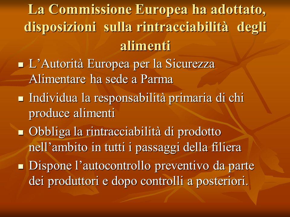 La Commissione Europea ha adottato, disposizioni sulla rintracciabilità degli alimenti La Commissione Europea ha adottato, disposizioni sulla rintracc
