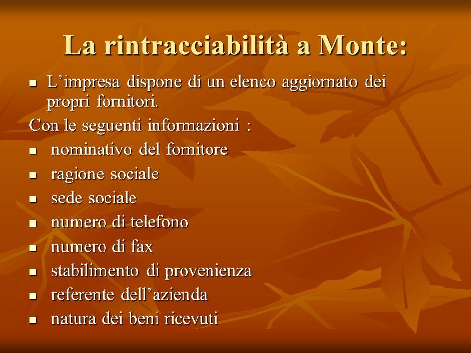 La rintracciabilità a Monte: Limpresa dispone di un elenco aggiornato dei propri fornitori. Limpresa dispone di un elenco aggiornato dei propri fornit