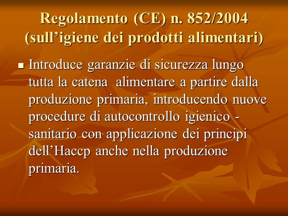 Regolamento (CE) n. 852/2004 (sulligiene dei prodotti alimentari) Introduce garanzie di sicurezza lungo tutta la catena alimentare a partire dalla pro
