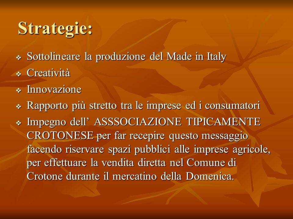 Strategie: Sottolineare la produzione del Made in Italy Sottolineare la produzione del Made in Italy Creatività Creatività Innovazione Innovazione Rap