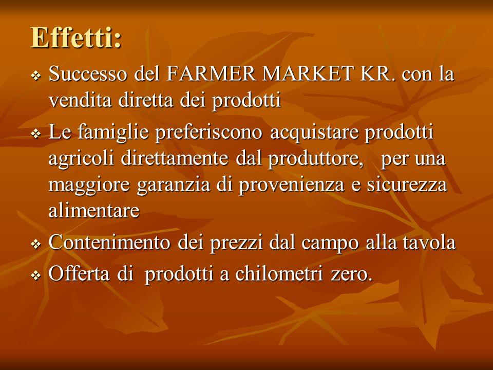 Effetti: Successo del FARMER MARKET KR. con la vendita diretta dei prodotti Successo del FARMER MARKET KR. con la vendita diretta dei prodotti Le fami