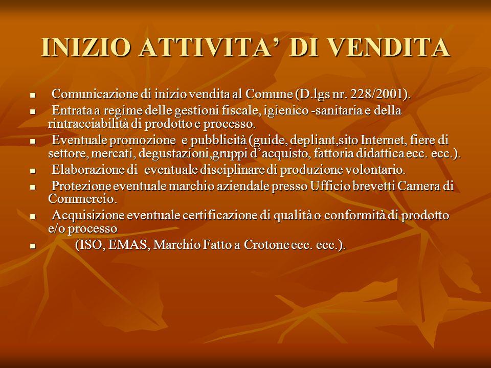 INIZIO ATTIVITA DI VENDITA Comunicazione di inizio vendita al Comune (D.lgs nr. 228/2001). Comunicazione di inizio vendita al Comune (D.lgs nr. 228/20
