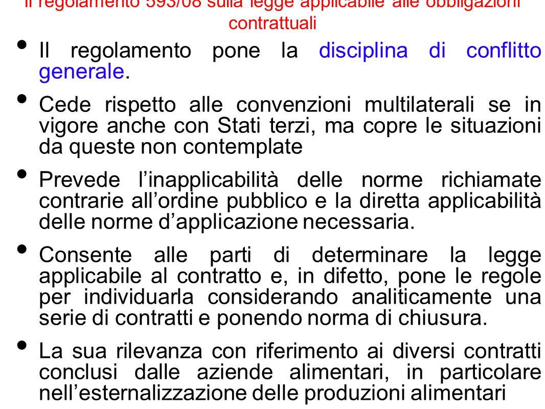 Il regolamento 593/08 sulla legge applicabile alle obbligazioni contrattuali Il regolamento pone la disciplina di conflitto generale. Cede rispetto al