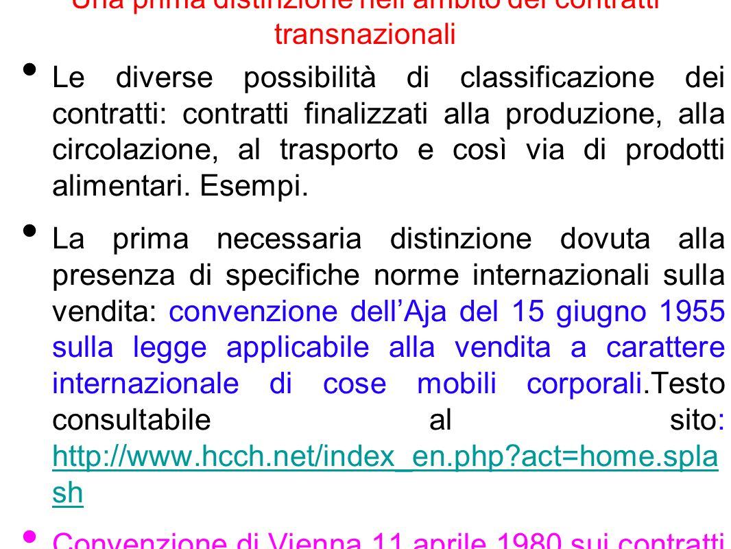 convenzione dellAja del 15 giugno 1955 Si tratta di convenzione di diritto internazionale privato che detta norme sulla legge applicabile alle vendite transnazionali di cose mobili corporali.