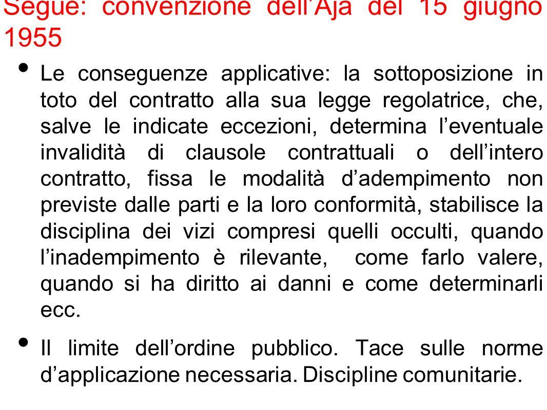 Segue: convenzione dellAja del 15 giugno 1955 Le conseguenze applicative: la sottoposizione in toto del contratto alla sua legge regolatrice, che, sal