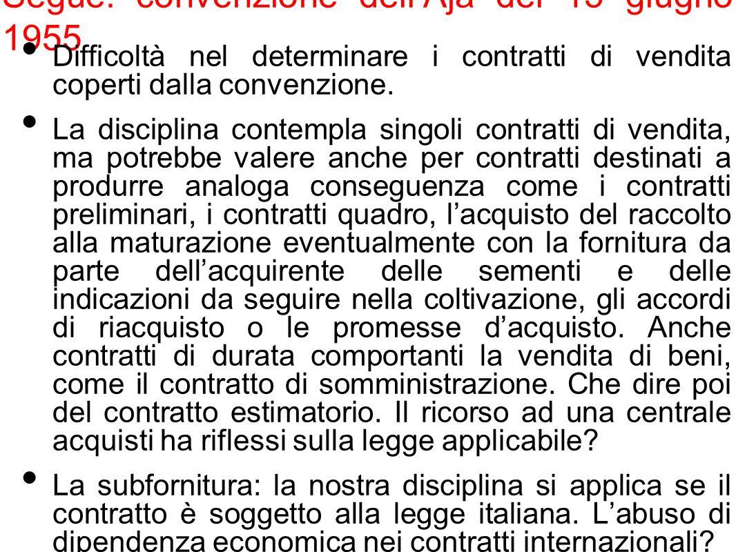 Segue: convenzione dellAja del 15 giugno 1955 Difficoltà nel determinare i contratti di vendita coperti dalla convenzione. La disciplina contempla sin