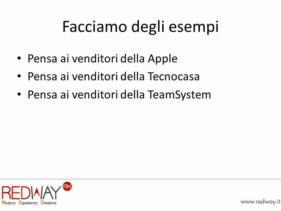 Facciamo degli esempi Pensa ai venditori della Apple Pensa ai venditori della Tecnocasa Pensa ai venditori della TeamSystem