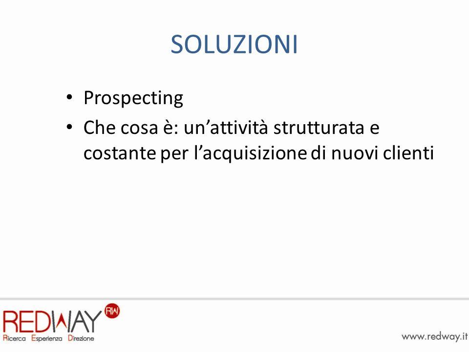 SOLUZIONI Prospecting Che cosa è: unattività strutturata e costante per lacquisizione di nuovi clienti