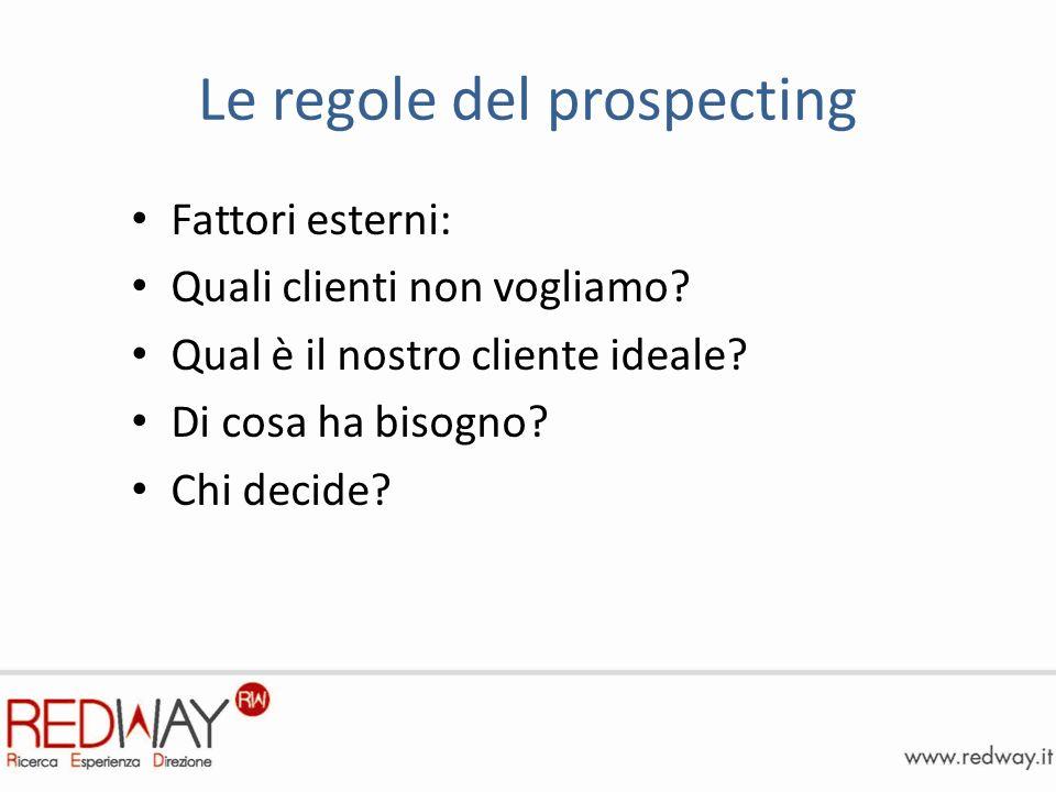 Le regole del prospecting Fattori esterni: Quali clienti non vogliamo.
