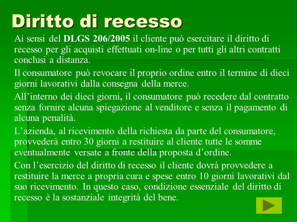 Diritto di recesso Ai sensi del DLGS 206/2005 il cliente può esercitare il diritto di recesso per gli acquisti effettuati on-line o per tutti gli altr